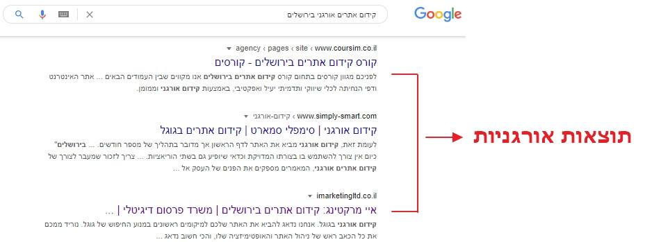 תוצאות חיפוש בגוגל בביטוי קידום אתרים אורגני בירושלים